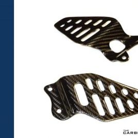 YAMAHA R6 2006 TO 2016 CARBON FIBRE HEEL GUARDS IN GLOSS TWILL WEAVE FIBER
