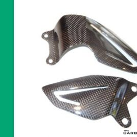 THE CARBON KING TRIUMPH 675 2013 ON CARBON FIBRE HEEL GUARDS RIDERS FIBER PLAIN